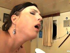 Hippy Stacy Stone gets huge shlong between her butt cheeks.