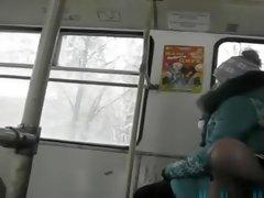 Russian pervert wank on bus