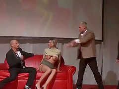 Hot threesome porn orgy on european public sexfair show stage