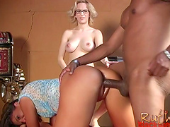 Blazing babe in glasses stimulated as she gets fingered then yells as she is fucked doggystyle
