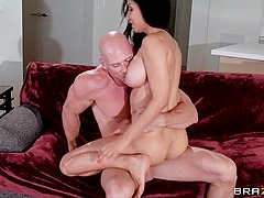 Isis Love sucks Johnny Sins's dick and welcomes it in her shaved cunt
