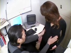 Sweet Japanese face fucked in voyeur office fuck video