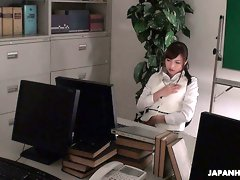 Whorish and hot Japanese office nympho Aihara Miho teases her wet pussy