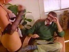Mature vintage slut provides mustached dude with a good blowjob
