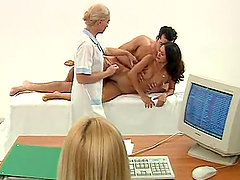 Horny blonde female doctor gets fucked by her patient