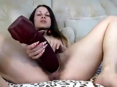 Depraved Ukrainian Julli with a hairy pussy and big toys