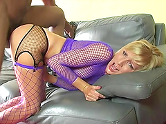 Slut in fishnet is going to be riding a huge black cock
