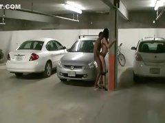 White skinny slut fucked in the parking lot