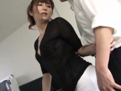 Gorgeous teacher gets down on her knees and makes cock cum