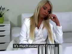 Creampie for smoking hot blonde in Casting