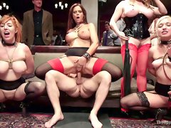 Busty milf Syren De Mer and others serve several brutal studs in the BDSM club