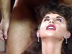 Big boobed brunette Sarah Louise is pleasuring classic gang bang fuck