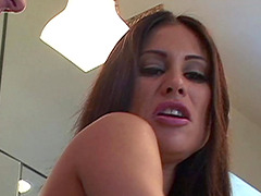 Curvaceous brunette in leather boots gets her ass intensely fucked