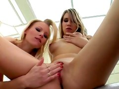 Gitta Blond and Britney in threesome gonzo fuck scene with