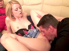 Naughty hot ass Russian sluttie plays with huge dick in hot blowjob