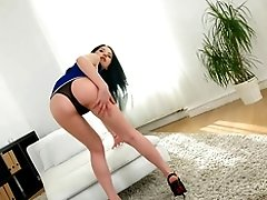 Brunette sweetie Kaia Kitava gets talked into jumping on a hard dick