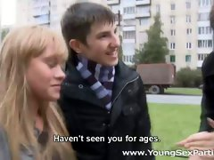 Passionate swinger sex featuring spicy Russian teen chicks