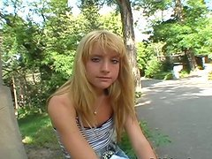 Petra the horny European girl gets pounded outdoors