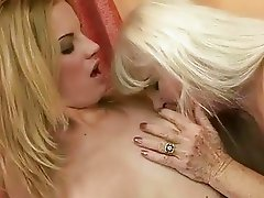 Ugly granny enjoying lesbian sex with hot girl