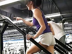 Aiden lovely brunette babe public flashing tits and ass at the gym