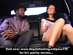 Amazing brunette girl talking with a black man
