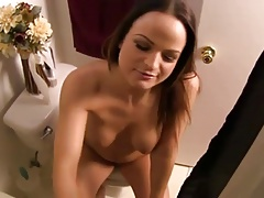 Show off in the bathroom. JOI